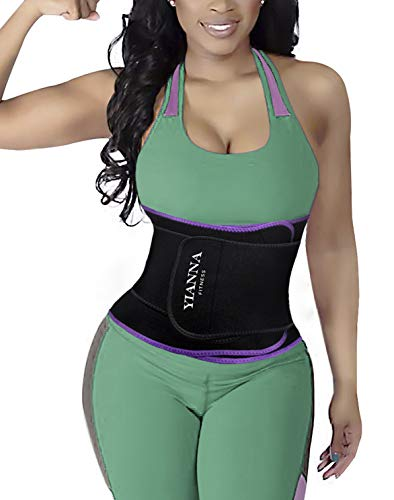 Accelerate Trainer - YIANNA Hourglass Waist Trainer Trimmer Slimming Belt Hot Neoprene Sauna Sweat Belly Band Weight Loss Body Shaper Back Support Postpartum Girdle, YA8010-Purple-L-XL (46inch)
