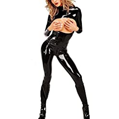 - 41eChP7 SvL - Women Ladies Lingerie Plus Size Long Sleeve Bodysuit Wet Look Open Cup Crotchless Zipper Jumpsuit Faux Leather Catsuit