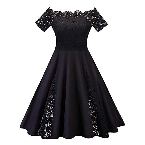 Women Patchwork Dress Pure Color Evening Party Dress Lace Formal Dress A-line Dress Women Plus Size ()