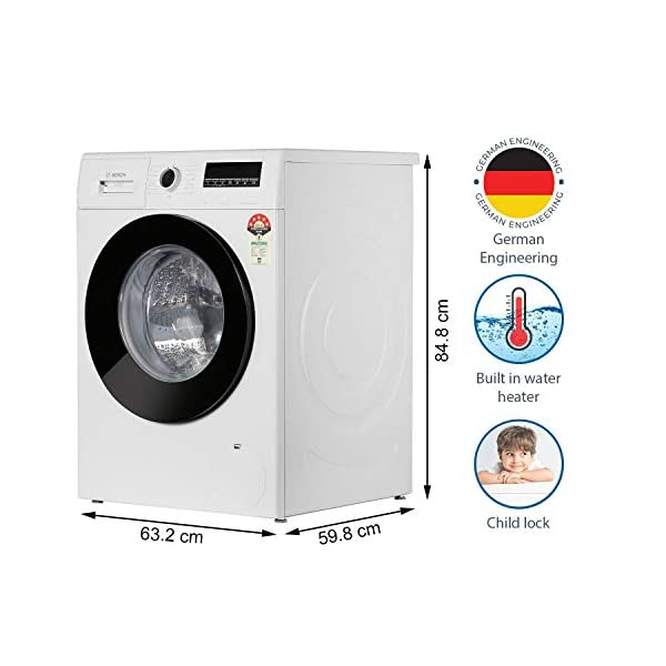 Bosch 8 Kg Inverter Fully-Automatic Front Loading Washing Machine (WAJ24267IN, White) 2021 June Fully-automatic front loading washing machine: Affordable with great wash quality, Easy to use Capacity 8 kg: suitable for large families Manufacturer warranty: 2 years on product, 10 years on motor
