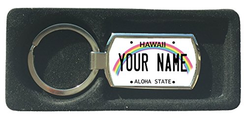 BleuReign(TM) Personalized Custom Name Hawaii State License Plate Metal Keychain