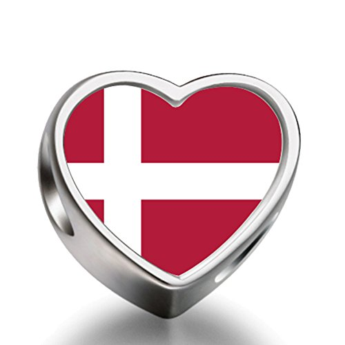 Denmark flag Heart Silver Plated Charms Bracelet Necklace Beads Waist Beads 6mm Hole Craft Metal Beads floating Charms for - Silver Denmark