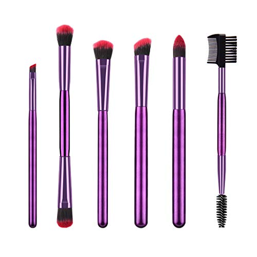 Sussmai 6-Purple-High-End Red and Black Hair Makeup Brush Set, Top Makeup Brushes Tool Set Cosmetic Eye Shadow Foundation Beauty Make Up Brush