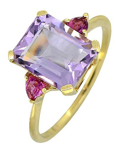 - YoTreasure Pink Amethyst Tourmaline Solid 14K Yellow Gold Ring 4.7 Ct Emerald Cut