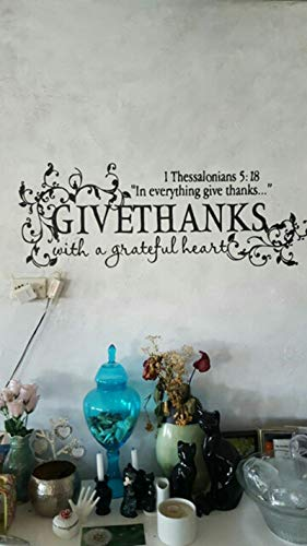 Gadgets wrap Bible Verse Give Thanks with A Grateful Heart Thanksgiving Wall Appointment Vinyl Decal Stickers, Z2057