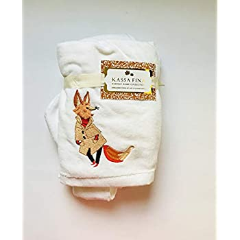 Set of 2 Kassa Fina Harvest Embroidered Hand Towels, Fox
