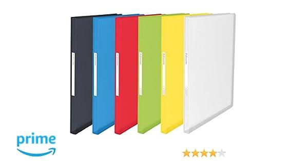 Esselte Carpeta de fundas A4, 100 fundas, Capacidad para 200 hojas, Fundas transparentes, Tapas flexibles, Gama VIVIDA, 624009, Colores surtidos, 1 ...