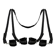 Intimate Melody Black Under the Bed Restraint with 4 Cuffs | Lovely Present for Couple | Add More Fun to Sex Life | Fast Shipping From CA | Arrival in Ordinary Parcel | Keep Order in Private Package