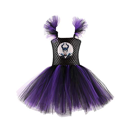Maleficent Costume Kids, Malificent Costumes Child, Maleficient Tutu Dress, S Purple]()