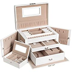 The Songmics white leather jewelry box is of excellent layout, attractive appearance, multifunctional structure and fine workmanship. The jewelry organizer is finely designed and crafted with faux leather, high quality velvet and medium densi...
