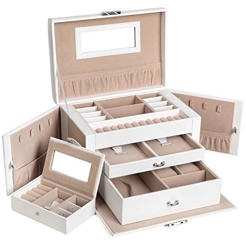 SONGMICS Jewelry Box, Girls Jewelry Organizer, Mirrored Mini Travel Case, Lockable, White UJBC121W (Barn Jewlery Pottery Box)