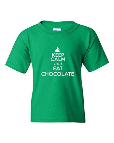 Keep Calm And Eat Chocolate Statement Novelty Youth Kids T-Shirt Tee (X-Large, Irish Green)