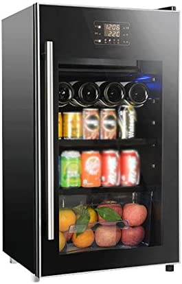 WANGLX 飲料冷蔵庫やクーラー - ガラスドア付き飲料冷蔵庫、ボリューム:ルームや冷蔵庫ルームを作る100L、40デシベル、2つの*ガラス棚と、2ゾーン冷却、氷
