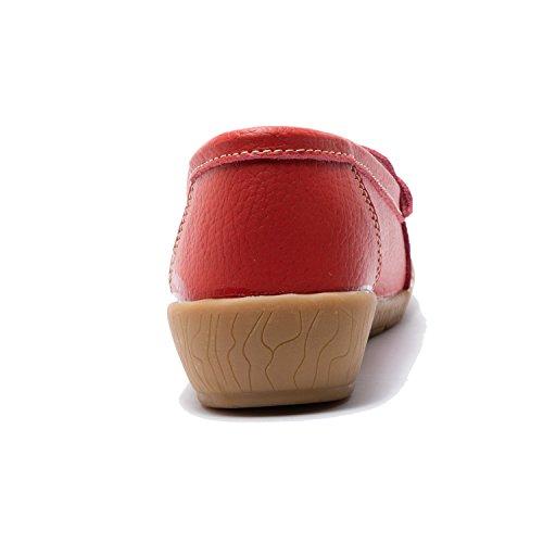 Perforations Grandes Y Femme Cuir Confort Pompon Tailles En Rouge Mocassins Avec XUqwA