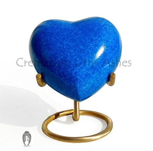 Brass Made Heart Urn for Keepsake Cremation Ashes (Deep Blue) ()