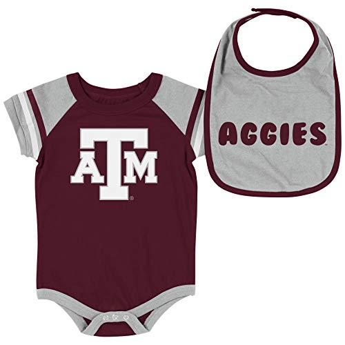 Colosseum NCAA Baby Short Sleeve Bodysuit and Bib 2-Pack-Newborn and Infant Sizes-Texas A&M Aggies-3-6 Months