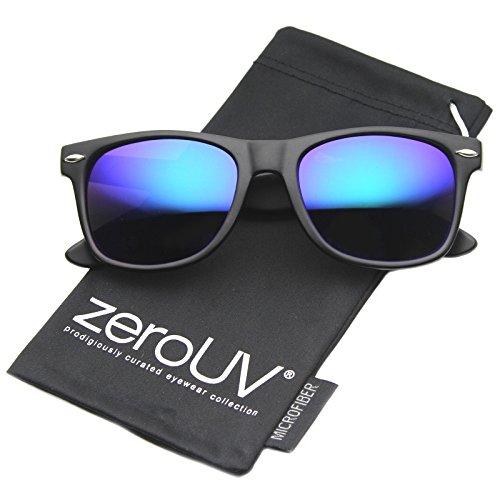 Sunglasses Colored Wayfarer (zeroUV ZV-8025-11 Retro Matte Black Horned Rim Flash Colored Lens Sunglasses, Black/dark blue, 50mm)
