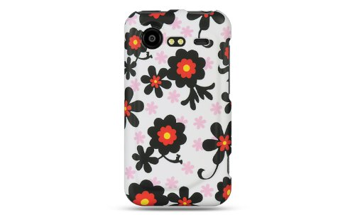 Premium - HTC INCREDIBLE 2 6350 CRYSTAL RUBBER CASE WHITE W/ BLACK DAISY - Faceplate - Case - Snap On - Perfect Fit Guaranteed