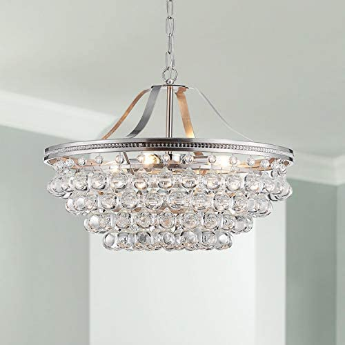 Saint Mossi Chandelier Modern K9 Crystal Raindrop Chandelier Lighting Flush Mount LED Ceiling Light Fixture Pendant Lamp for Dining Room Bathroom Bedroom Livingroom 5 E12 Bulbs Required H16 X D20