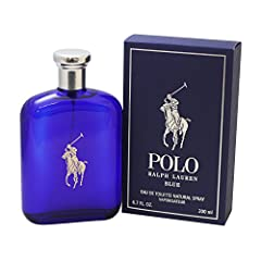 Polo Blue for Men by Ralph Lauren has notes of melon de cavaillon, lush accord, lush watery melon, fresh sliced cucumber, tangerine, clary sage absolute, geranium, basil verbena, washed suede, velvety moss, amber wood, patchouli coeur, and sh...