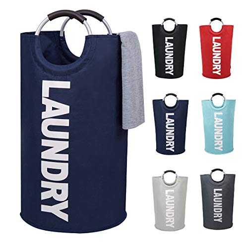 82L Large Laundry Basket Collapsible Fabric Laundry Hamper Tall Foldable Laundry Bag Handles Waterproof Portable Washing Bin Folding Clothes Bag Travel Shopping Bathroom College (Dark Blue, L)