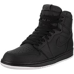 Jordan Nike Men's Air 1 Retro High OG Black Leather Basketball Shoes 10.5