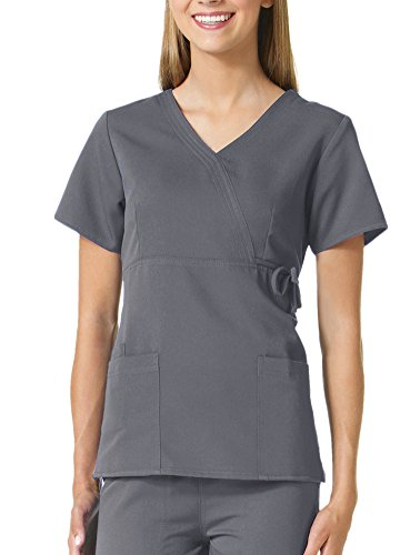Mock Wrap Tie - Gravity By Maevn Women's Mock Wrap Solid Scrub Top With Side Tie Small Pewter