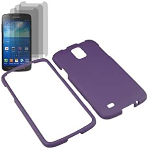 Quaroth BW Hard Shield Shell Cover Snap On Case for AT&T Samsung Galaxy S 4 Active i537 x3 Fitted Screen Protector -Purple...
