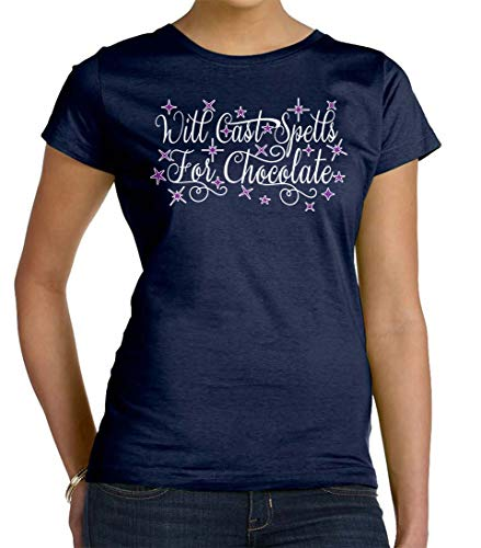 Tenacitee Women's Will Cast Spells for Chocolate Crew Neck T-Shirt, 3X-Large, Navy]()