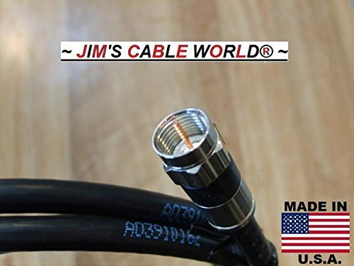 JIMS CABLE WORLD (6 Inch) Black Digital HD Quality 75 Ohm RG~6 Tri-Shield Coaxial (Coax) Cable Hand Crafted And Made In The USA