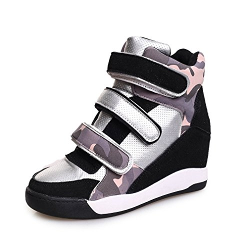 Btrada Womens Sports Shoes Wedge Casual Round Toe PU Student Sports Shoes Heighten Camouflage