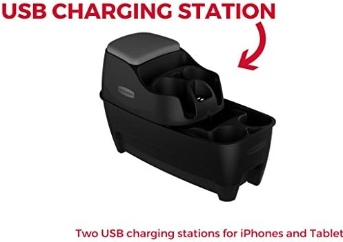 Rubbermaid 3376-00 Automotive Portable Console Organizer Caddy with Storage Combo Dual USB Charging Ports and Cup Holders