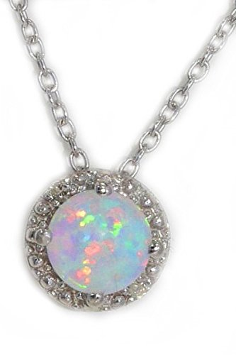 Simulated Opal & Diamond Round Pendant .925 Sterling Silver Rhodium Finish Round Pendant Bracelet