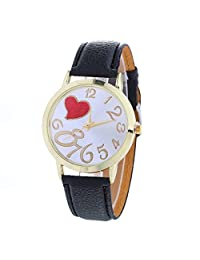 Womens Quartz Watches,COOKI Loving Heart Pattern Unique Analog Fashion Clearance Lady Watches Female watches on Sale Casual Wrist Watches for Women,Comfortable PU Leather Watch-H46 (Black)