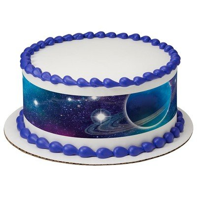Galaxy Stars Outerspace Birthday Peel & STick Edible Cake Topper Decoration for Cake Borders w. Sparkle Flakes & Favor Labels for $<!--$9.99-->