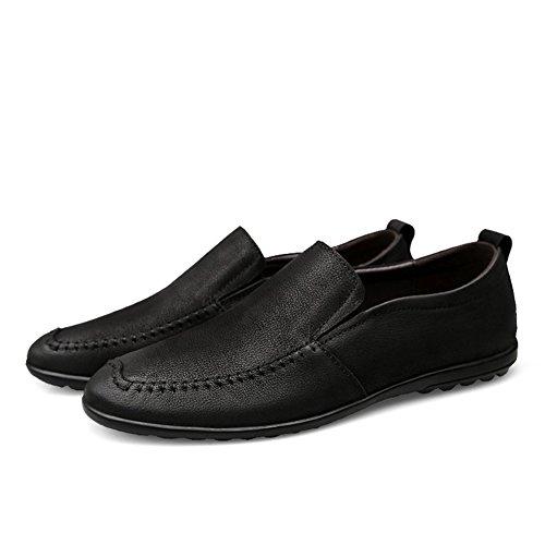 Microfibra para PU Comodidad Ons para Negro Zapatos conducción de Hombres Zapatos sintética sintético Correr de Suela Primavera para Caminar y Liviana Zapatos PU Slip Cuero Mocasines de Hombre Zapatos 0f8WUwqEU