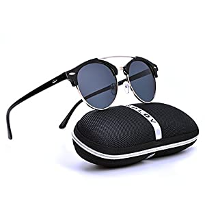 Polarized Round Half Frame Semi-Rimless Rimmed Sunglasses Driving Eyewear