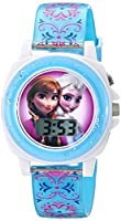 Disney Kids' FZN3588 Frozen Anna and Elsa Digital-Display Blue Watch by Disney