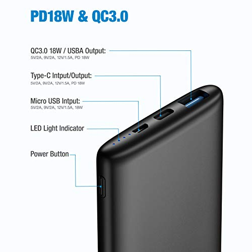 BABAKA Portable Charger 10000mAh, PD 18W USB C Power Bank QC 3.0 Fast Charging Battery Pack, Dual Output Phone Charger Compatible with iPhone 12, Samsung Galaxy S20 and More