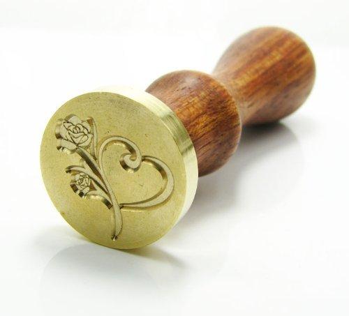 SSUGER9vintage ceralacca sigillo francobolli timbri in metallo con manico set Heart & Rose