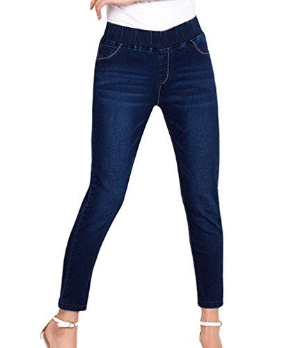 YuanDian Femme Automne Casual Grande Taille Slim 7/8 Longueur Cheville Cropped Jean Pantalons Skinny Elastique Denim Jeans Stretch Bleu Fonc