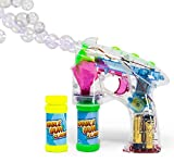 Bubble Gun Blower for Kids - Classic (Boys & Girls) | Toy Blaster + 2X Soap Solution Bottle + 3X AA Batteries | Futuristic Shooter with Internal Wand | Fun, Colorful, Indoor & Outdoor