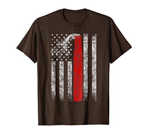 Mens Grunge Style American Flag Hunter T-shirt Red Bullet XL Brown