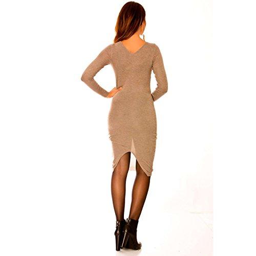 Miss Wear Line - Robe taupe avec col en v à lacets sur le devant