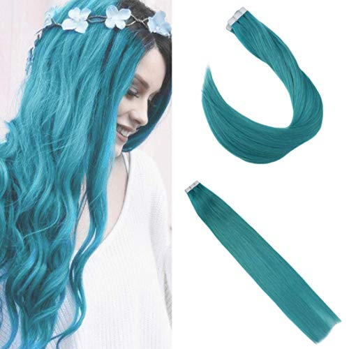 Ugeat 20Inch Remy Tape In Extensions Human Hair 50Grams/20Pcs Seamless Straight Tape Hair Extensions Human Hair #Teal Skin Weft Hair ()