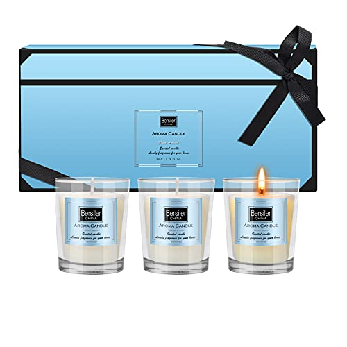 Bersiler Aromatherapy Candles, Scented Candles Gift for Women Birthdate Soy Wax Small Candle 3 Pcs X 4.5 OZ Mother's Day Anniversary :Blue Water
