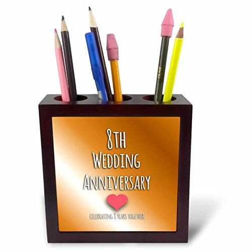 3dRose ph_154439_1 8th Wedding Anniversary Gift Bronze Celebrating 8 Years Together Eighth Anniversaries Eight Years Tile Pen Holder, 5-Inch