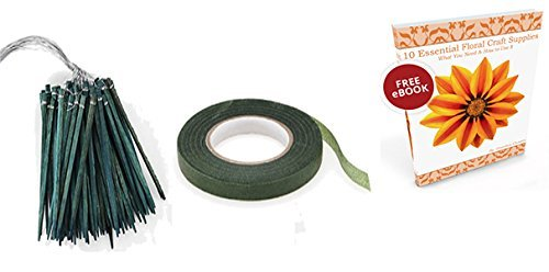 Floral Arrangement Tape Green 1/2 Inch 90 feet, Wired Wooden Picks 90 Count Plus Flower Crafting Tools eBook Bundle 6284277