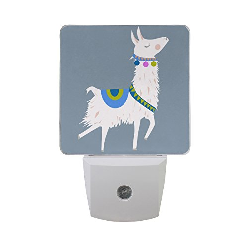 Price comparison product image Naanle Set of 2 Happy Alpaca Lama On Grey Auto Sensor LED Dusk to Dawn Night Light Plug in Indoor for Adults