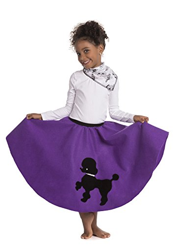 Kidcostumes Poodle Skirt with Musical Note printed Scarf Purple ()